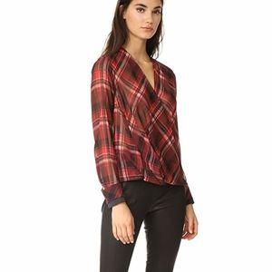 Rag & Bone silk Victor blouse red plaid